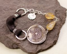 Dandelion Wish Leather And Citrine Bracelet by lissa73 on Etsy, $82.00