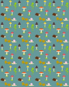 free digital and printable forest themed background pattern – mushrooms, hedgehogs, snail pattern – Herbstpapier – freebie | MeinLilaPark