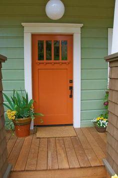 ideas house exterior design craftsman the doors for 2019 Front Door Trims, Unique Front Doors, Orange Front Doors, Best Front Doors, House Front Door, Front Door Molding, Green Doors, Yellow Doors, Colored Front Doors