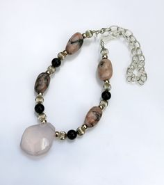 One of a kind rose quartz and pink opal necklace with sterling silver beads and hammered clasp - hand crafted in UK