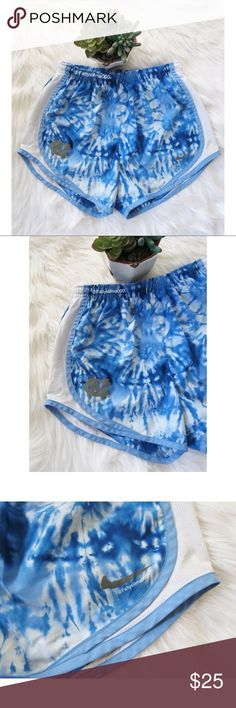 Nike • UNC Blue tie dye shorts 🌿 Beautiful UNC vibrant blue, tie dye shorts from Nike. These shorts are super cute and are perfect for all those tar heel fans out there! Shorts feature comfortable elastic waistband, the perfect blend of colors on a beautiful tie dye pattern and UNC & NIKE logo located on the front. Logos do have some cracking as seen in third photo but are in overall excellent condition! Size XS. Nike Shorts