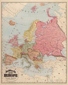 ANTIGUO MAPA DE EUROPA DE 1896