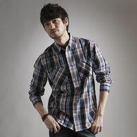 【早秋款↘任兩件1400元】EDWIN 棉質格紋薄長襯衫-男款 藍色