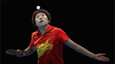Li Xiaoxia of China competes during women's Team Table Tennis semifinal. London 2012