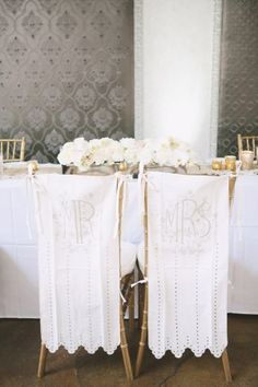 Bride and Groom Chair Covers | photography by http://www.christinefarah.com/