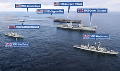 When Big Lizzie met Big George: Stunning moment Royal Navy's new aircraft carrier sailed alongside America's giant warship USS George HW Bush in a display of strength in North Sea Westminster, Ford Aircraft Carrier, Navy News, Hms Prince Of Wales, Portsmouth Harbour, Hms Queen Elizabeth, Navy Carriers, Us Navy Ships, Man Of War