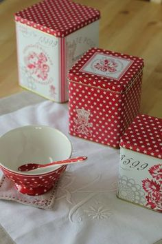 red and white kitchen tins