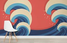 illustrated waves wall mural