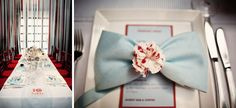 Seersucker table runner.  Napkin bow.  Handmade Floral centerpieces.    Photo Credit: Brookelyn Photography
