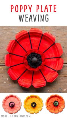 POPPY PLATE WEAVING: Transform a paper plate into a circle weaving loom! This project allows children to weave with yarn to create a poppy flower, perfect for Remembrance Day and/or Veterans Day. Paper Plate Poppy Craft, Paper Plate Crafts, Paper Plates, Remembrance Day Activities, Remembrance Day Poppy, Poppy Craft For Kids, Art For Kids, Projects For Kids, Art Projects