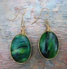 Chrysocolla Wire Wrapped Drop Earrings by Versieren on Etsy, $20.00
