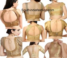 ReadyMade Gold Blouses in Different Patterns – South India Fashion - readymade gold blouses online photo - Blouse Back Neck Designs, Best Blouse Designs, Bridal Blouse Designs, Choli Designs, Dress Designs, Gold Blouse, Sari Blouse, Blouse Designs Catalogue, Stylish Blouse Design