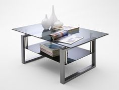 Alpha Coffee Table In Grey Glass With Chrome Legs