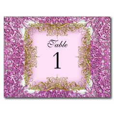 Table Number Seating Place Cards Pink Gold Post Cards