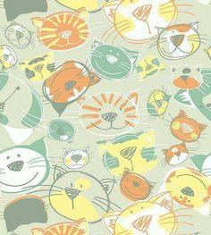 Papel de parede em tons verde, laranja, amarelo e detalhes brancos - Infantil 159