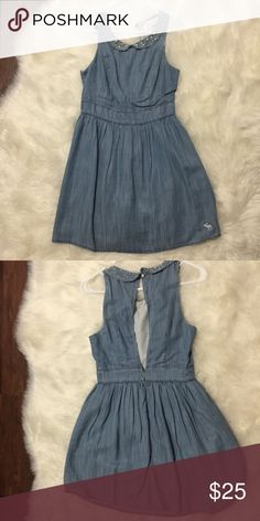 Denim dress with collar Denim dress with embellishments on the collar. Worn only once. Open back Abercrombie & Fitch Dresses Mini