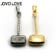 Wholesale Men's Stainless Steel Jewelry Hammer Pendant Necklace Silver/Gold Plated Chain Pendant
