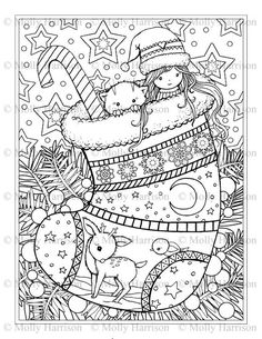 Christmas Coloring Pages for Adults Inspirational Christmas Stocking Coloring Page Cat Deer Cute Little Free Christmas Coloring Pages, Christmas Coloring Sheets, Free Adult Coloring Pages, Cute Coloring Pages, Coloring Pages For Girls, Coloring For Kids, Printable Coloring Pages, Coloring Books, Thé Illustration