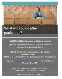 GSD / FRIT Career Panels for Language and Culture Students. Wed 2/26/14. This event features two panels of alumni from the Departments of French & Italian and German, Scandinavian & Dutch. One panel will feature alumni who work in the nonprofit industry, and the other panel will have alumni from the business field.