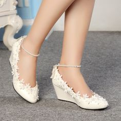 Fashion Lace white ivory crystal Wedding shoes Bridal flats low wedge high heels #Laceup