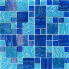 Shop for Aquatic Ocean Blue French Pattern Glass Tile at TileBar.com