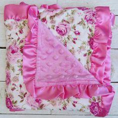 Pink Floral Minky Blanket