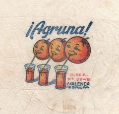 Vintage Valencia orange fruit wrapper from collection of French cousins Didier & Gabriel (site: Legufrulabelofolie). via Letterology