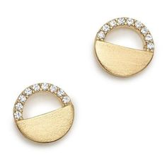 Bloomingdale's Diamond Half Circle Stud Earrings in 14K Yellow Gold,... (€895) ❤ liked on Polyvore featuring jewelry, earrings, gold diamond earrings, 14k yellow gold earrings, 14 karat gold earrings, diamond earrings and diamond stud earrings