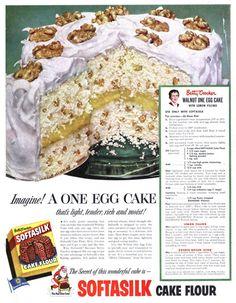 Softasilk - 19521206 Post Vintage Ads Food, Vintage Recipes, Vintage Cakes, One Egg Cake, Lemon Filling, Recipe From Scratch, Banana Split, Old Recipes, Cake Flour