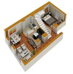 Tiny House Floor Plans   Small residential unit 3d floor plan   3D floor plans   marketing ... Tiny House Floor Plan, Floorplans