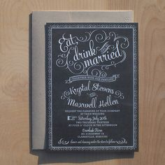 Chalkboard Wedding Invitations  vintage chic by JenSimpsonDesign, $3.75