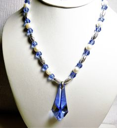 Sapphire Blue Swarovski Crystal Pendant and Beads with Pearls Sterling Silver Set