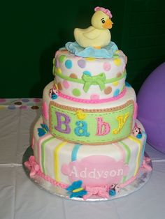 Theme:  Tiny Bundle Baby Shower.  Marshmallow Fondant, fondant covered rice krispy duck and water, magic marker food color pens for detail.