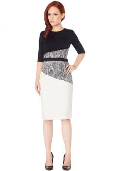 Gwen Dress by Rachel Sin.  Classic sheath dress with 3/4 length sleeves and graphic colour blocking.