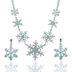 Silver-Tone Snowflake Necklace Earrings Set Austrian Crystal Clear AB ($28) ❤ liked on Polyvore featuring jewelry, necklaces, silvertone necklace, silver tone jewelry, austrian crystal jewelry, silver tone necklace and silvertone jewelry