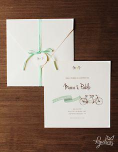 Convite de casamento vintage com bicicleta e poás. Super fofo! <3 Faça seu…