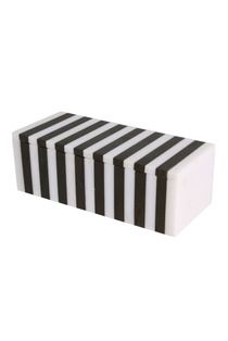 Black and white striped decorative marble inlay box by Kelly Wearstler