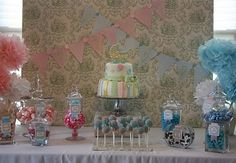 Gender reveal baby shower cake table!  Gender reveal parties are such a cute idea.