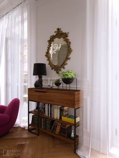"""Picture from """"Bachelorette"""" - project by interiordelight. An artist has no home in Europe save in Paris (Nietzsche) One Room Apartment, Interior Inspiration, Bookcase, Shelves, Interior Design, Design Projects, Europe, Interiors, Paris"""