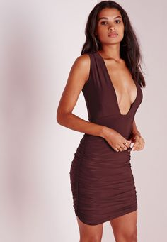 Missguided - Slinky Plunge Ruched Bodycon Dress Chocolate Brown