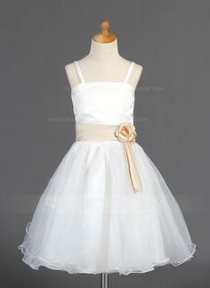 A-Line/Princess Knee-Length Organza Satin Flower Girl Dress With Sash Flower(s) (010014663) - JJsHouse