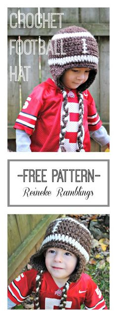 FREE Crochet Football Hat Pattern