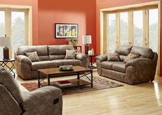 "Blair collection. Upholstered in unique ""look of leather"" Three piece package includes sofa, loveseat and recliner."