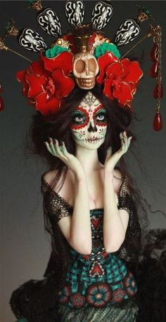 Day of the Dead la Catrina Sugar Skull Style Sugar Skull Makeup, Sugar Skull Art, Sugar Skulls, Soirée Halloween, Halloween Face Makeup, Ooak Dolls, Art Dolls, Maquillage Sugar Skull, Day Of Dead Makeup