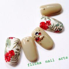 flicka_nailさんの夏,ソフトジェル,フラワー,ベージュネイル♪[521111]|ネイルブック