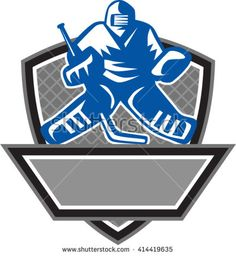Illustration of a ice hockey goalie wearing helmet holding hockey stick set inside shield crest viewed from the front with net on the background done in retro style.  - stock vector #goalie #retro #illustration