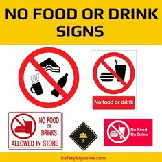 Inform employees and guests that eating or drinking is prohibited in specific areas with No Food Or Drink Sig. Drink Signs, Philippines, Drinking, Safety, Eat, Food, Security Guard, Beverage, Drink