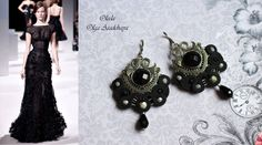 """Earrings """"Twilight Mystery"""" soutache, vintage items, crystal beads, beads under a rock, Japanese seed beads"""