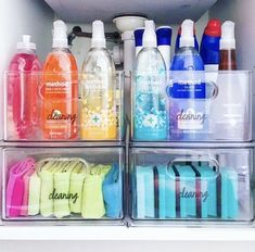 Fashion Look Featuring Container Store Kitchen Storage by thehomeedit - ShopStyle Freezer Organization, Refrigerator Organization, Home Organisation, Bathroom Organization, Organization Hacks, Organizing Cleaning Supplies, Organized Bathroom, Medicine Organization, Organization Station