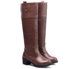 $36.67 Trendy Round Toe and Chunky Heel Design Women's Knee-High Boots